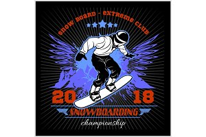 Snowboarding emblem Illustration man on dark background