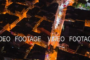 Timelapse rooftop view of Istanbul street with traffic at night