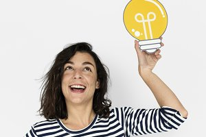Woman Hold Light Bulb