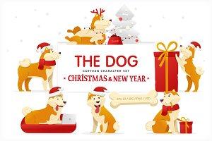 Christmas Dog Cartoon Character