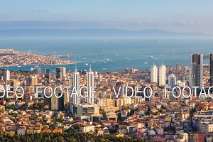 Aerial timelapse of Bosphorus and Istanbul cityscape with tourist floating boats and Golden horn