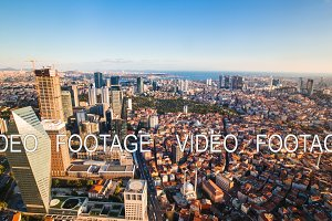 Timelapse rooftop view of Istanbul business district and Golden horn