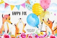 Happy fox watercolor clip art