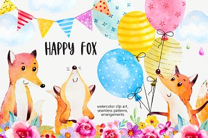 Happy fox watercolor clip art