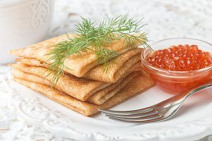 pancakes (blini ) with salmon caviar