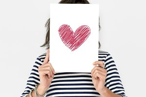 Woman Hold Heart Paper