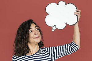 Woman Hold Blank Speech Bubble
