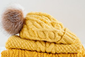 Cozy warm knitted clothes
