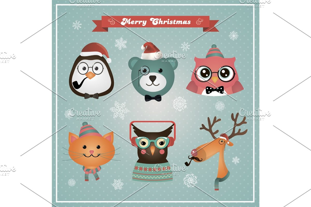 Merry Christmas Animals.Cute Christmas Animals And Pets