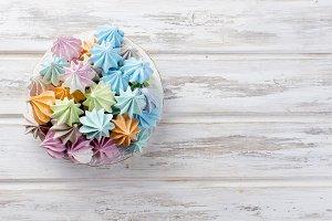 Colored meringues