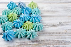 Blue and green meringues