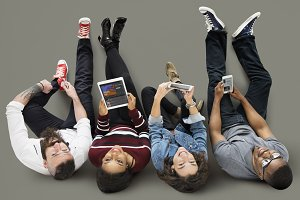 Top view People Using Technology