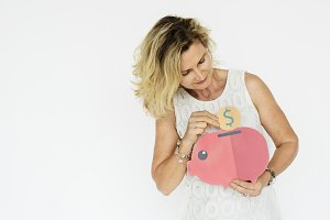 Adult Woman Hold Piggy Bank
