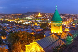 Night aerial view of Old Town, Tbilisi, Georgia