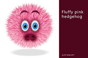 Pink fluffy hedgehog - 9 icons