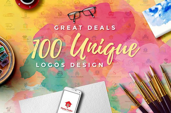 100 Unique Logo Bundle (98,5% OFF)