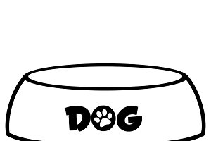 Black And White Dog Bowl