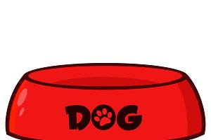 Red Dog Bowl Drawing Simple Design