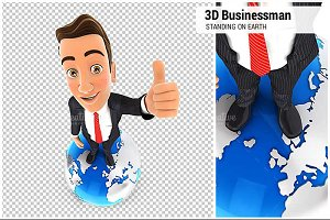 3D Businessman is Standing on Earth