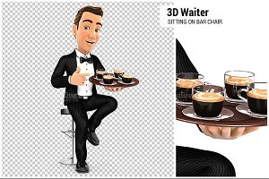 3D Waiter Sitting on Bar Chair
