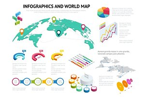 Isometric World map with set of infographics elements. Big set of infographics with data icons, world map charts and design elements For business presentations and reports Vector illustration