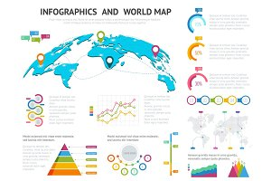 World map with set of infographics elements. Big set of infographics with data icons, world map charts and design elements For business presentations and reports Vector illustration