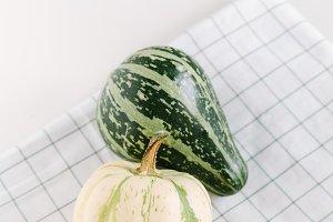 Minimalist style flat lay pumpkins