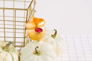 white and gold decorative pumpkins
