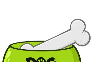Green Dog Bowl With Animal Food
