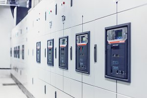 Electrical switchgear, Industrial electrical switch panel.