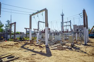 Electric power substation: electricity substation, power Line and power station.