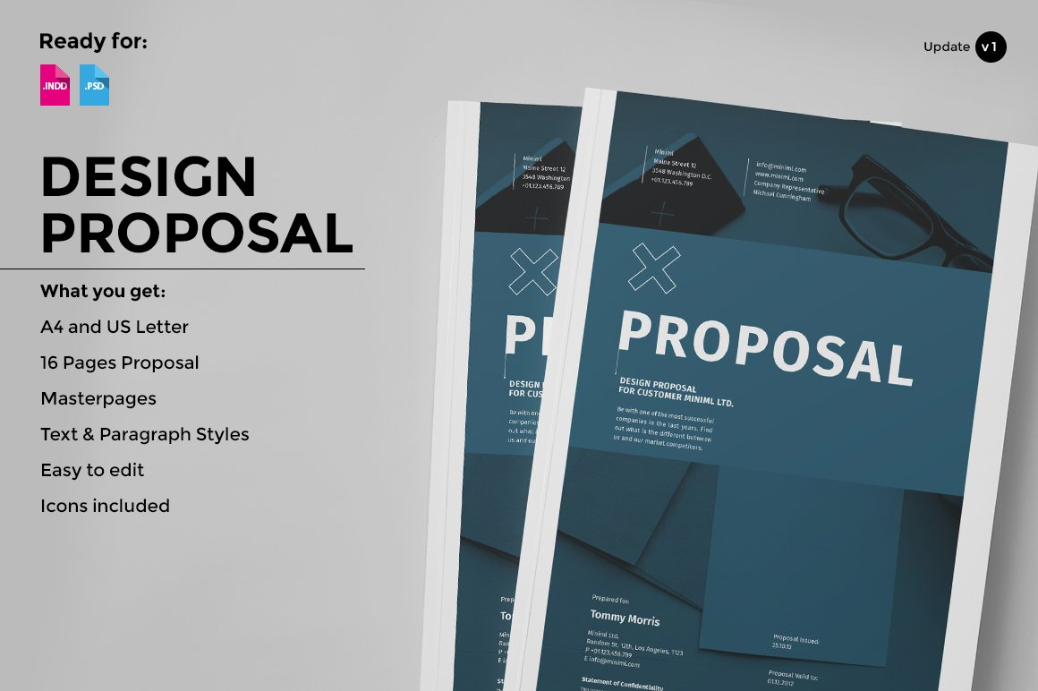 Design Proposal Brochure Templates Creative Market – Proposal Cover Page Design