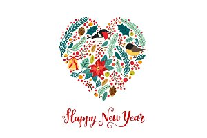 Cute vintage hand drawn rustic floral New Year card