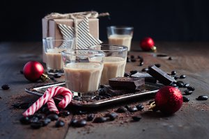 Baileys, coffee liqueur. Christmas