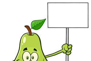 Pear Fruit Holding A Blank Sign