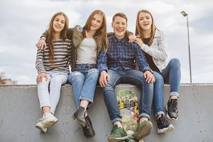 Teenagers with skateboard