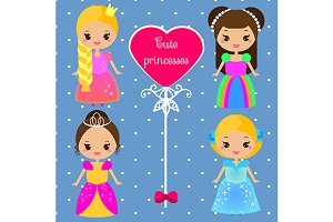 Cute kawaii princesses. vector