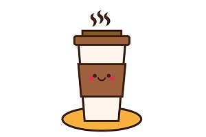 Cute coffee cup icon
