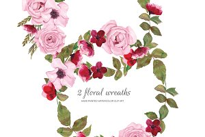 Watercolor Pink Rose Wreaths