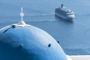 Santorini. Blue dome and cruise