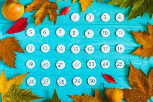 Close up November 2017 calendar