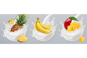Fruit and milk splashes. Vector