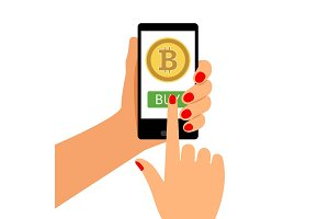 Woman holding smartphone with Bitcoin