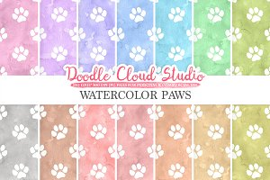 Watercolor Paws digital paper