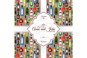 Invitation card with alcohol bottles pattern
