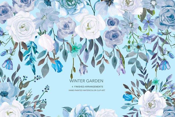 Watercolor Winter Rose Garden