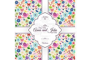 Card with spring love seamless pattern