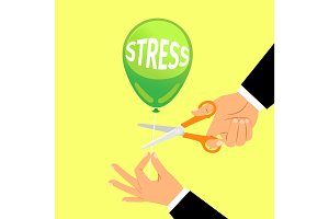 Businessman hand cutting stress balloon string