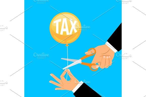 Businessman Hand Cutting Tax Balloon String
