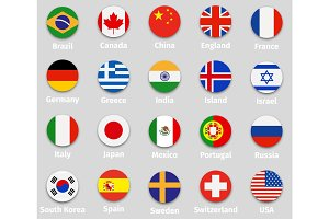 World flags, round icons set